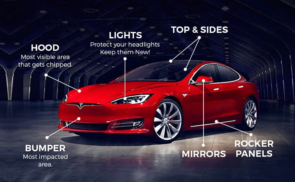 red car with paint protection option diagram